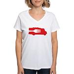 Food Truck: Side/Fork (Red) Women's V-Neck T-Shirt