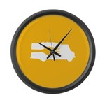 Food Truck: Side/Fork (Yellow) Large Wall Clock