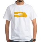 Food Truck: Side/Fork (Yellow) White T-Shirt