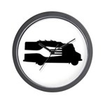 Food Truck: Side/Fork (Black/White) Wall Clock