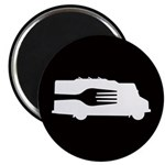 Food Truck: Side/Fork (Black/White) Magnet