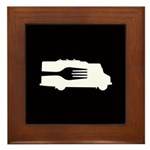 Food Truck: Side/Fork (Black/White) Framed Tile