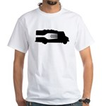 Food Truck: Side/Fork (Black/White) White T-Shirt