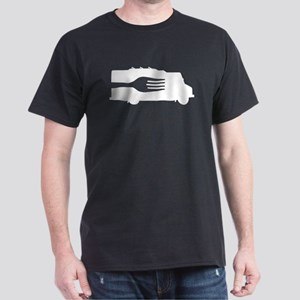 Food Truck: Side/Fork (Black/White) Dark T-Shirt