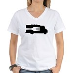 Food Truck: Side/Fork (Black/White) Women's V-Neck