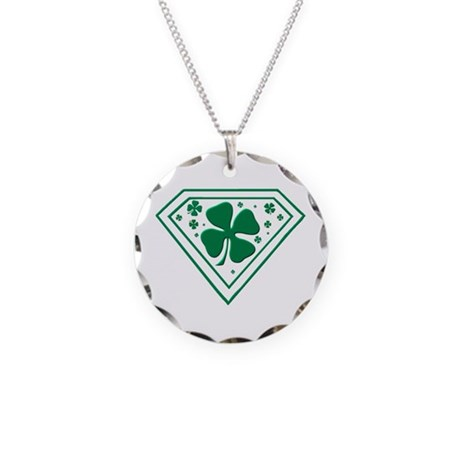 Super Shamrock Necklace Circle Charm