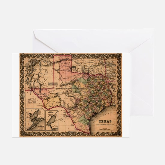 1855 Map of TX Greeting Cards
