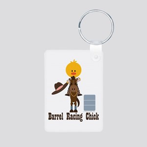 Barrel Racing Chick Aluminum Photo Keychain