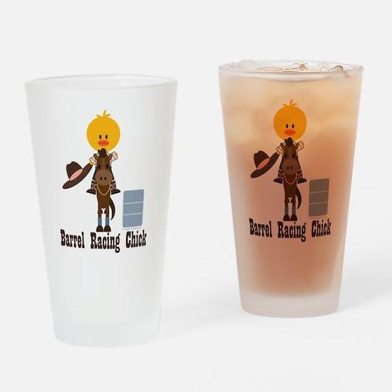 Barrel Racing Chick Drinking Glass