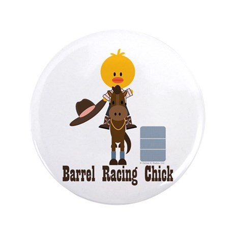"Barrel Racing Chick 3.5"" Button (100 pack)"