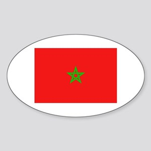 Moroccan Flag Oval Sticker