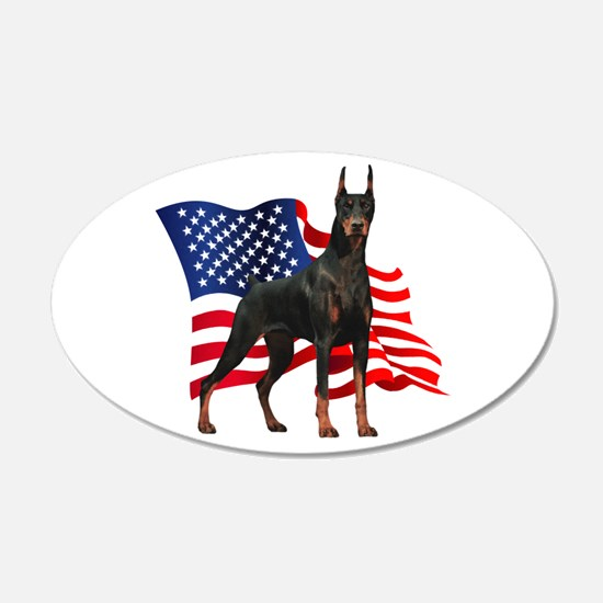 American Flag Doberman 22x14 Oval Wall Peel