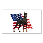 American Flag Doberman Sticker (Rectangle 50 pk)