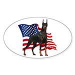 American Flag Doberman Sticker (Oval 50 pk)