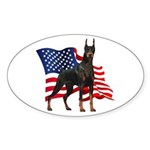 American Flag Doberman Sticker (Oval)