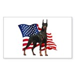American Flag Doberman Sticker (Rectangle)