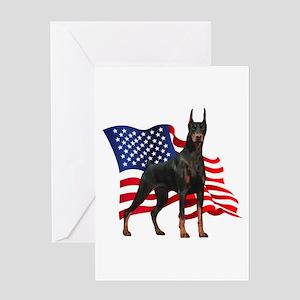 American Flag Doberman Greeting Card