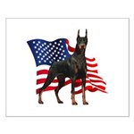 American Flag Doberman Small Poster