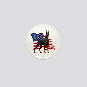 American Flag Doberman Mini Button