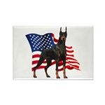 American Flag Doberman Rectangle Magnet (10 pack)