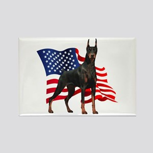 American Flag Doberman Rectangle Magnet