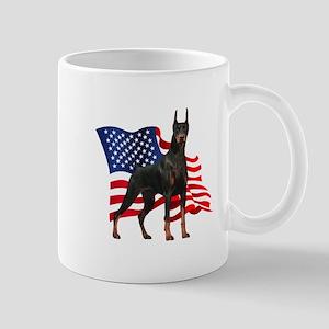 American Flag Doberman Mug