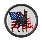 American Flag Doberman Large Wall Clock