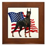 American Flag Doberman Framed Tile
