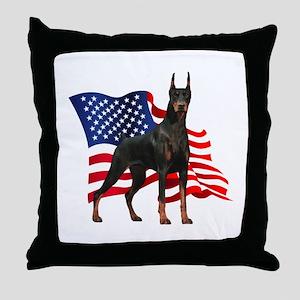 American Flag Doberman Throw Pillow