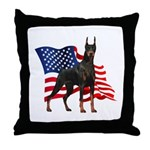 American Flag Doberman Throw Pillow