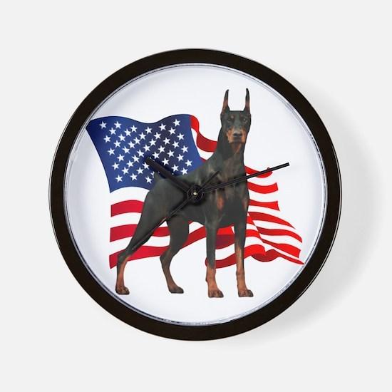 American Flag Doberman Wall Clock
