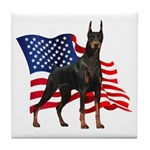 American Flag Doberman Tile Coaster