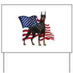 American Flag Doberman Yard Sign