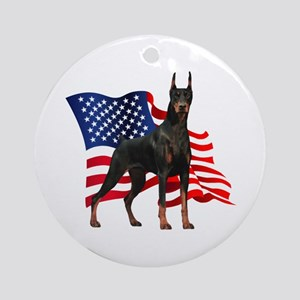 American Flag Doberman Ornament (Round)