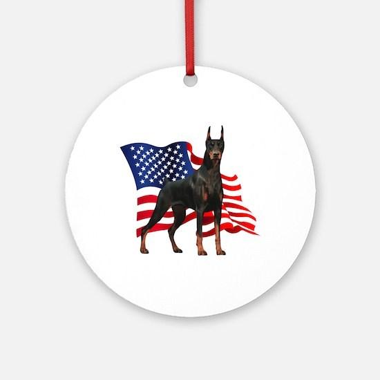 American Flag Doberman Ornament (Round)