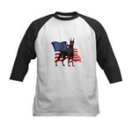 American Flag Doberman Kids Baseball Jersey
