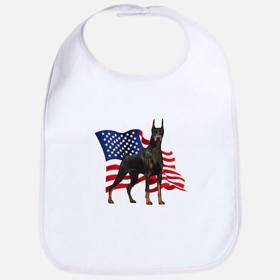 American Flag Doberman Bib