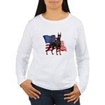 American Flag Doberman Women's Long Sleeve T-Shirt