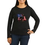 American Flag Doberman Women's Long Sleeve Dark T-