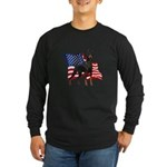 American Flag Doberman Long Sleeve Dark T-Shirt