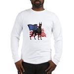 American Flag Doberman Long Sleeve T-Shirt