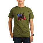 American Flag Doberman Organic Men's T-Shirt (dark