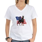 American Flag Doberman Women's V-Neck T-Shirt