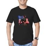 American Flag Doberman Men's Fitted T-Shirt (dark)