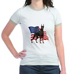 American Flag Doberman Jr. Ringer T-Shirt