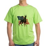 American Flag Doberman Green T-Shirt