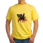 American Flag Doberman Yellow T-Shirt