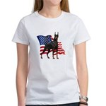 American Flag Doberman Women's T-Shirt