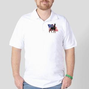 American Flag Doberman Golf Shirt