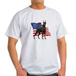 American Flag Doberman Light T-Shirt